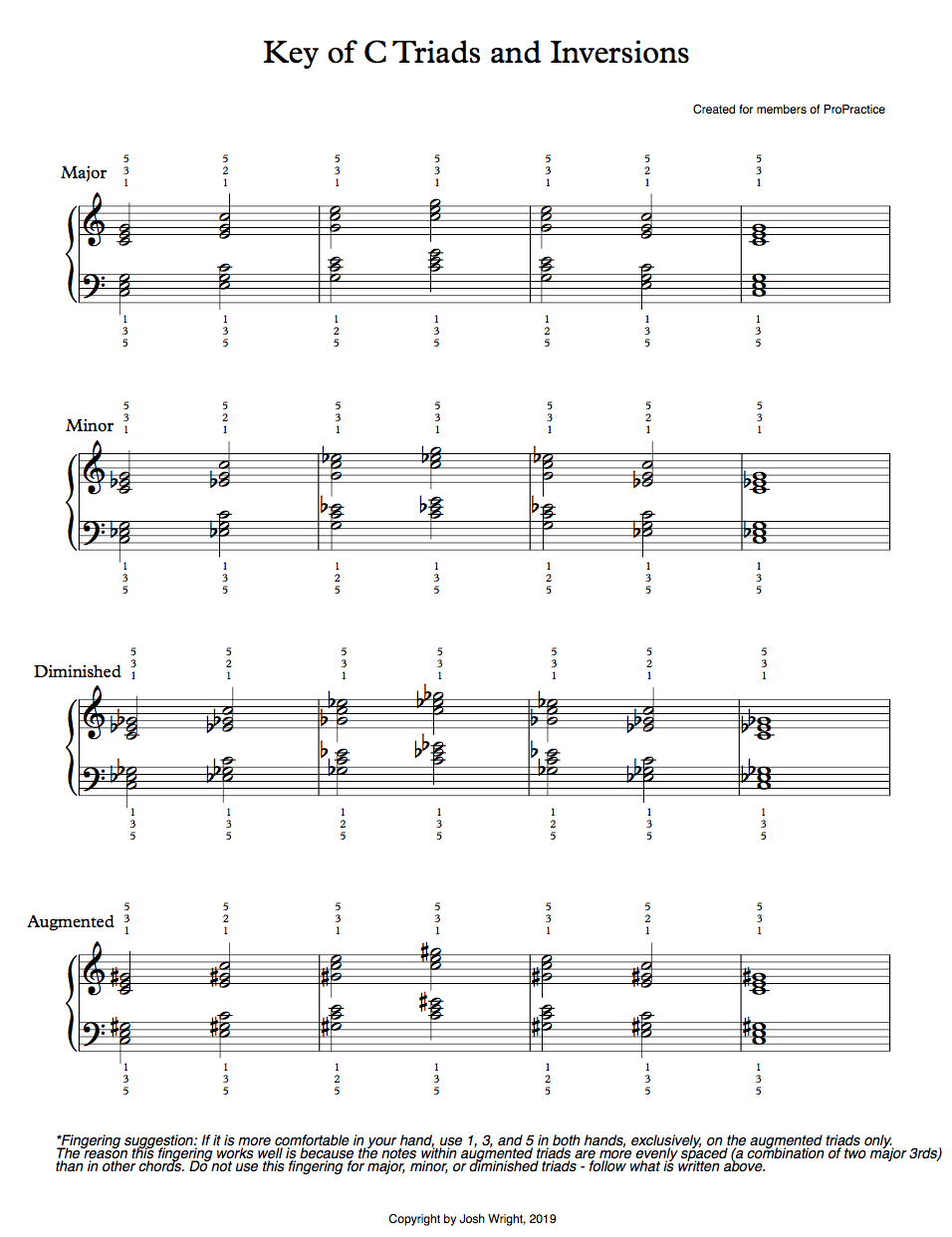 Triads and 7th Chords (All Keys, All Inversions) Sheet Music 24 pages total